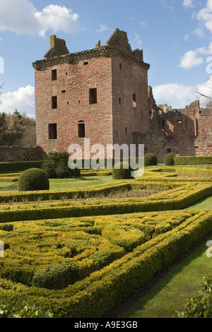 The ruined 16th century Scottish Edzell castle, grounds and walled Gardens, Angus, Scotland uk - Stock Photo
