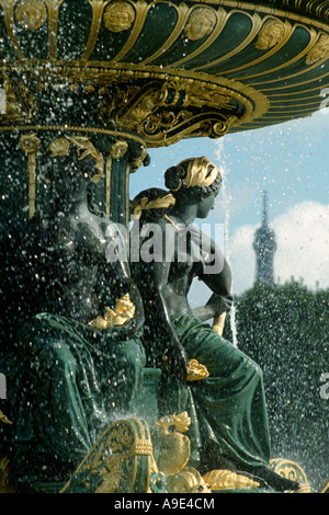 Paris France Place de La Concorde Detail of Fountain with the Eiffel Tower in the background - Stock Photo