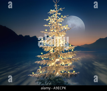 CH - UPPER ENGADIN:  Alpine Christmas Scene - Stock Photo