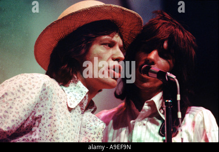 Mick Jagger and Keith Richards of The Rolling Stones. Both Legends in their Lifetimes, Travelling with the Stones - Stock Photo