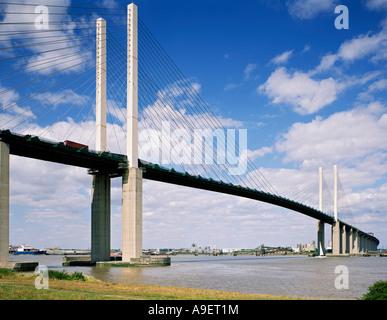 GB KENT DARTFORD CROSSING QUEEN ELIZABETH II BRIDGE RIVER THAMES - Stock Photo