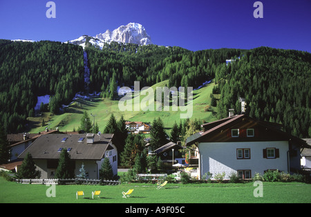 The Sassolungo and the town of Selva di Val Gardena, Val Gardena (Groden), Dolomites, Italy, Europe. - Stock Photo