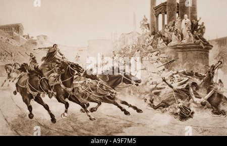 A Roman chariot race. - Stock Photo