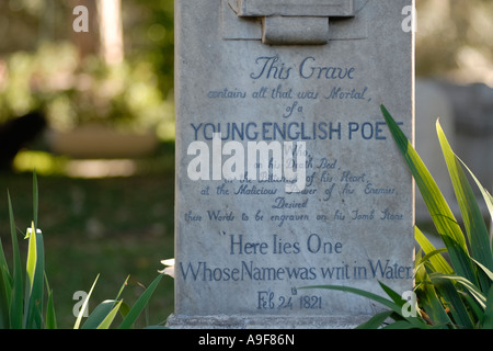 Rome Italy The grave of English Poet John Keats protestant Cemetery Cimitero Acattolico - Stock Photo