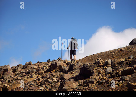 A hiker makes his way up the Central Crater on the Tongariro crossing in the North Island, New Zealand - Stock Photo