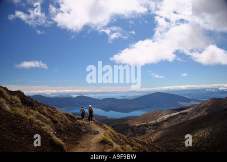 View of Lake Taupo from the North Crater of Mt Tongariro while hiking the Tongariro crossing in the North Island, - Stock Photo