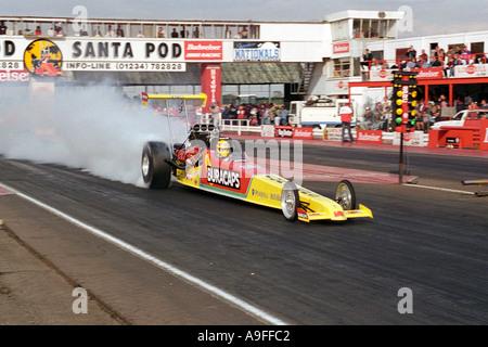 top alcohol drag racing car at santa pod raceway england - Stock Photo
