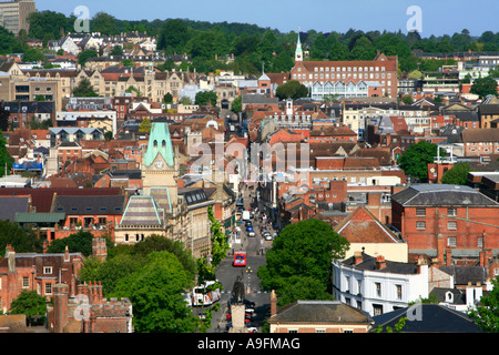 Winchester st giles' hill viewpoint town centre historic city in southern England hampshire uk gb - Stock Photo
