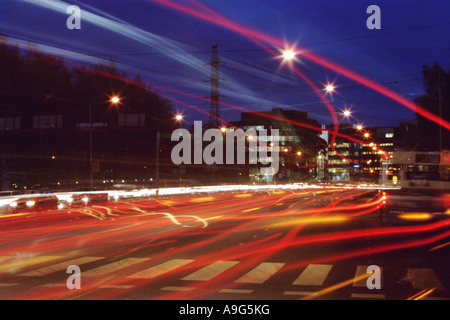 light streaks, Finland, Tampere - Stock Photo