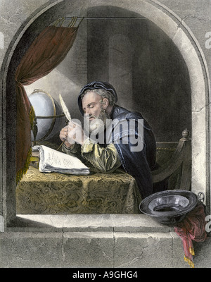 Writing master using a quill pen. Hand-colored engraving - Stock Photo