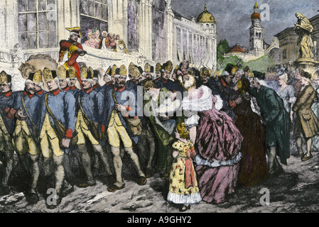Hessian soldiers sold by their duke to the British to fight in the American Revolution. Hand-colored woodcut - Stock Photo