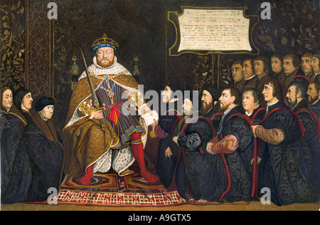 King Henry VIII presenting a charter to the Company of Barber Surgeons. Color lithograph - Stock Photo