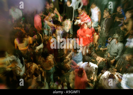 long exposure shot looking down onto a crowd of dancers at elevate nightclub delhi india - Stock Photo
