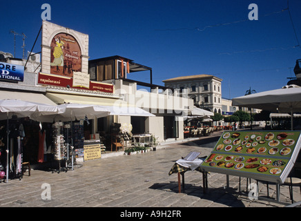 shops and restaurants in the centre of Zante town Zakinthos Island Greece - Stock Photo