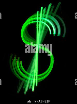 Neon dollar symbol - Stock Photo