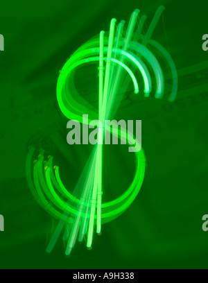 Neon dollar symbol with green cash background - Stock Photo