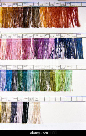 Sample chart of different coloured yarns  - Stock Photo