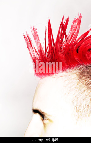 Side view of Punk rocker with red mohican - Stock Photo