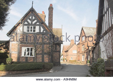 View of Church Street, Great Budworth Village, Cheshire, Engand - Stock Photo