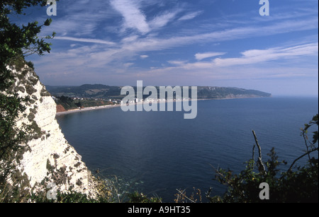 Looking east from the southwest coast path near Beer towards Seaton south Devon - Stock Photo