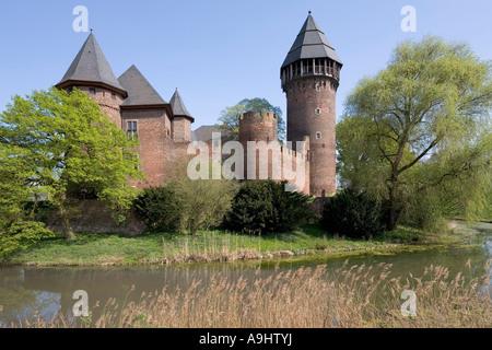 Moated castle Linn, Krefeld, Lower Rhineland, NRW, Germany - Stock Photo