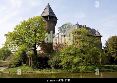 Moated castle Linn, Krefeld, Lower Rhineland, NRW, Germany - Stock Photo