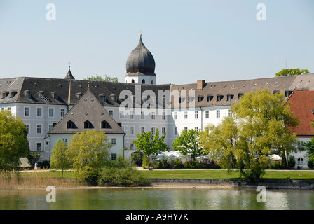 Church tower and Frauenwoerth monastery on Frauenchiemsee Fraueninsel Chiemsee Bavaria Germany - Stock Photo