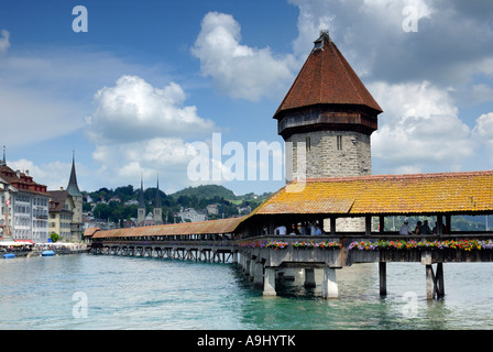 Lucerne - the chappel's Bridge an old part of town - Switzerland, Europe. - Stock Photo
