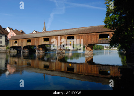 A historyc woodenbridge on the border from germany-switzerland - Baden Wuerttemberg, Germany, Europe. - Stock Photo