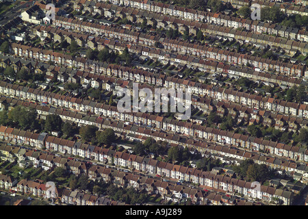 Aerial view of terraced housing with gardens in Ilford, Essex - Stock Photo