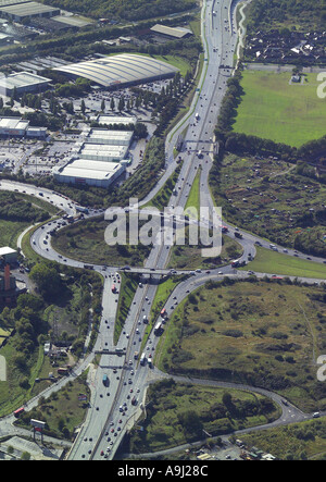 Aerial view of traffic on roundabout A13 and A406 near Barking in Essex - Stock Photo