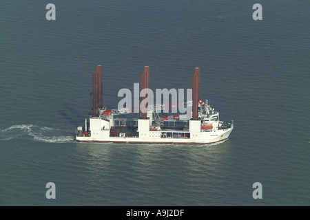 Aerial view of the Mayflower Resolution Wind Turbine Installation Vessel at sea off the Kent Coast in the English - Stock Photo