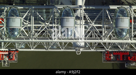 Aerial view of a Pod on the London Eye, also known as the Millennium Wheel on the South Bank of the Thames in London - Stock Photo