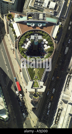 Aerial view of No 1 Poultry or Number One Poultry in the City of London showing the rooftop gardens in a traiangular - Stock Photo