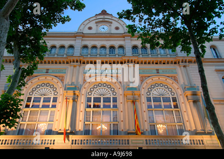spain Barcelona Ramblas opera fassade illuminated at night - Stock Photo