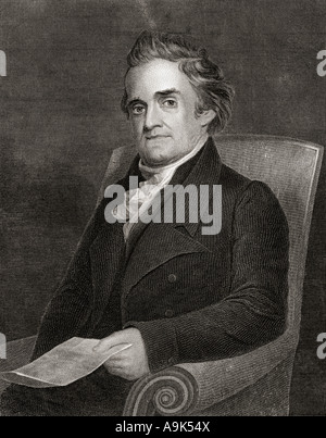 Noah Webster, 1758 - 1843. American lexicographer, author and editor. From 19th century engraving by Kellogg, after - Stock Photo
