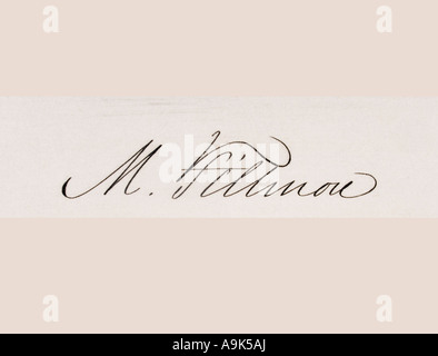 Signature of Millard Fillmore, 1800 - 1874. 13th president of the United States, 1850 - 1853. - Stock Photo