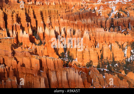 Afternoon light on rock formations below Bryce Point in winter Bryce Canyon National Park Utah - Stock Photo