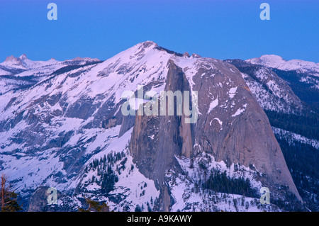 Half Dome and Clouds Rest at dusk from the summit of Sentinel Dome Yosemite National Park California - Stock Photo
