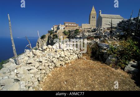 village of Lubenice on Cres island - Stock Photo