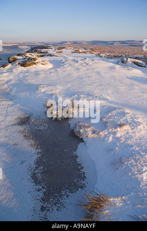 Frozen puddle fresh snow Froggatt edge Derbyshire Peak district national park England UK GB EU Europe - Stock Photo