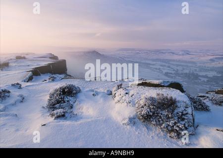 fresh snow Froggatt edge Derbyshire Peak district national park England UK GB EU Europe - Stock Photo