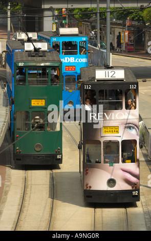 Double Decker Trams in Hongkong SAR - Stock Photo