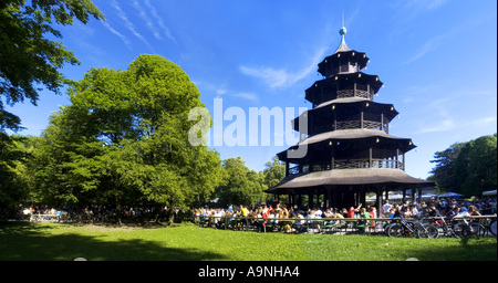 beer garden chinesischer turm tower englischer garten park munich stock photo 34502470 alamy. Black Bedroom Furniture Sets. Home Design Ideas