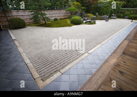 The zen rock garden at Korin-in, which is a subtemple of Daitokuji Temple, Kyoto, Japan - Stock Photo