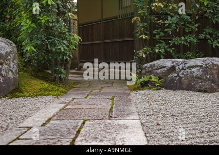 Stone path at Korin-in, which is a subtemple of Daitokuji Temple, Kyoto, Japan - Stock Photo
