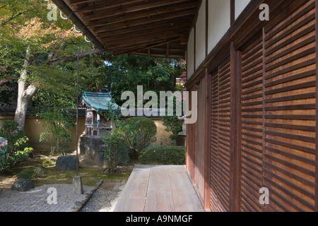 Zen rock garden and veranda at Korin-in, which is a subtemple of Daitokuji Temple, Kyoto, Japan - Stock Photo