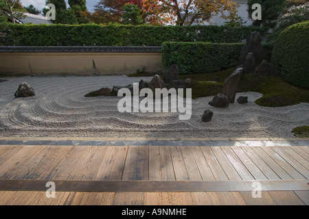 The zen rock garden at Zuiho, in which is a subtemple of Daitokuji Temple in Kyoto, Kansai Region, Japan - Stock Photo