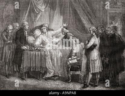 Death of Mirabeau.  Honoré Gabriel Riqueti, Comte de Mirabeau, 1749 -1791.  French revolutionary statesman. - Stock Photo