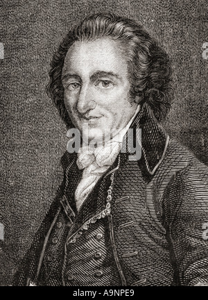 Thomas Paine,1737-1809.  English-born American writer and political pamphleteer and a Founding Father of the United - Stock Photo